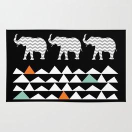 Tribal Elephants, Aztec Andes Pattern Rug