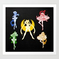 sailor moon Art Prints featuring Sailor Scouts / Sailor Moon by Sara Eshak