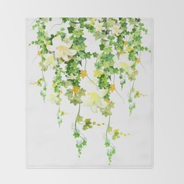 Watercolor Ivy Throw Blanket