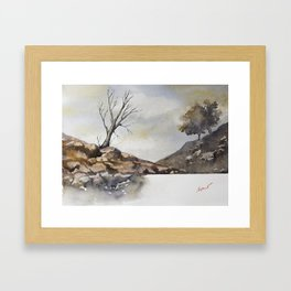 Old tree landscape Framed Art Print