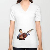 bob dylan V-neck T-shirts featuring Bob Dylan by Derek Donovan