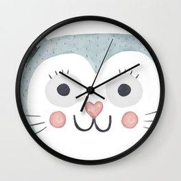 Cute Cartoon Cat Face Wall Clock