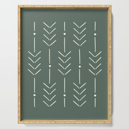 Arrow Lines Pattern in Forest Sage Green 2 Serving Tray