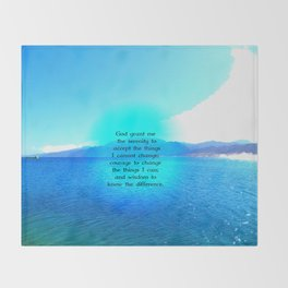 Serenity Prayer With Blue Ocean and Amazing Sky Throw Blanket