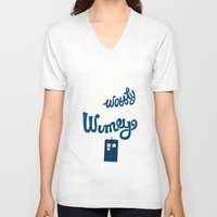 risa rodil V-neck T-shirts featuring Wibbly Wobbly Timey Wimey by Risa Rodil