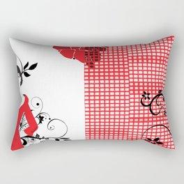 B&W+red Rectangular Pillow