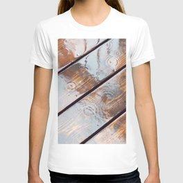 It's Raining! Beautiful Abstract Photography of Rain Falling on Redwood Deck T-shirt