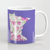 minnesota Mugs featuring Minnesota in Flowers by Ursula Rodgers