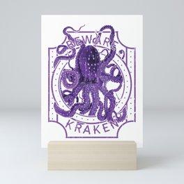 Beware of Kraken Deep Sea Diving Purple Octopus Sea Monster Mini Art Print