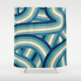 Vintage Faded 70's Style Blue Rainbow Stripes Shower Curtain