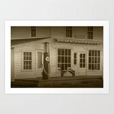 Sepia Photograph of Red Crown Vintage Gasoline Pump in Glen Haven Michigan Art Print