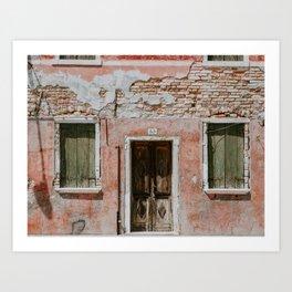 GRAY BRICK WALL OUTSIDE THE HOUSE Art Print