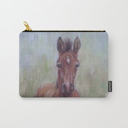 Baby Horse, Foal in the spring meadow, Cute Horse portrait Pastel drawing Carry-All Pouch