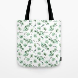 Pastel green watercolor modern orchid floral pattern Tote Bag