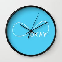 fault in our stars Wall Clocks featuring Fault In Our Stars - Okay by tangofox