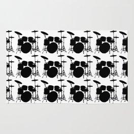 Drumset Pattern (Black on White) Rug
