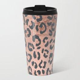 Modern charcoal grey rose gold leopard pattern Travel Mug