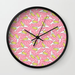 Low Down - banana memphis retro throwback vintage geometric neon pop art fruit summer spring Wall Clock