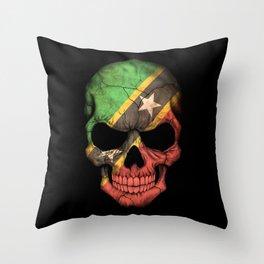 Dark Skull with Flag of Saint Kitts Throw Pillow