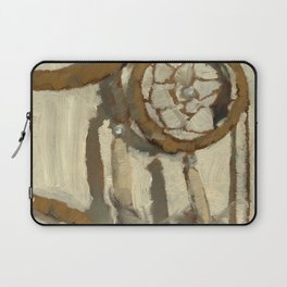 Still Life Impressionist Oil Painting of Native American Dreamcatcher in Brown, White and Grey Laptop Sleeve