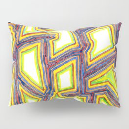 Outlined Fancy White Shapes Pattern Pillow Sham
