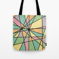 stained glass Tote Bags featuring Stained Glass by Tammy Kushnir