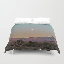 Sunset Moon Ridge // Grainy Red Mountain Range Desert Landscape Photography Yellow Fullmoon Blue Sky Duvet Cover