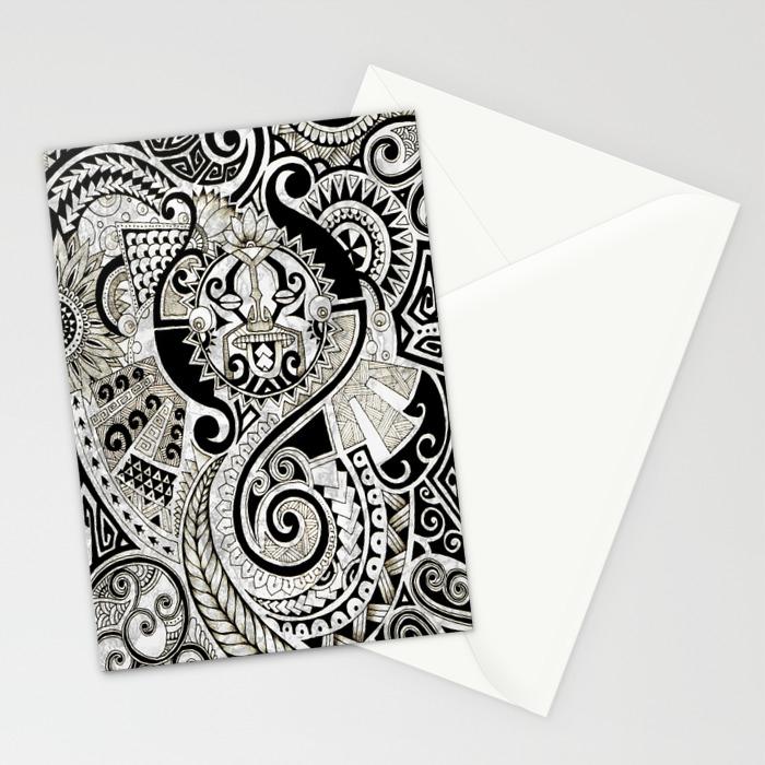 Maori tribal design stationery cards