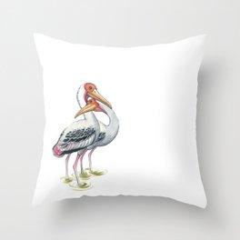 Painted Stork (Mycteria leucocephala) Throw Pillow
