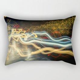 City Gold Light Fantastic Painted Abstract Rectangular Pillow