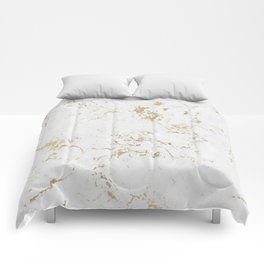 White and gold faux marble Comforters