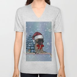 Funny christmas dog Unisex V-Neck