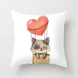 funny cute sweet kitten cat lovers hot air balloon of love present gift idea Throw Pillow