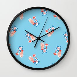Fungi Forest in Blue Wave Wall Clock