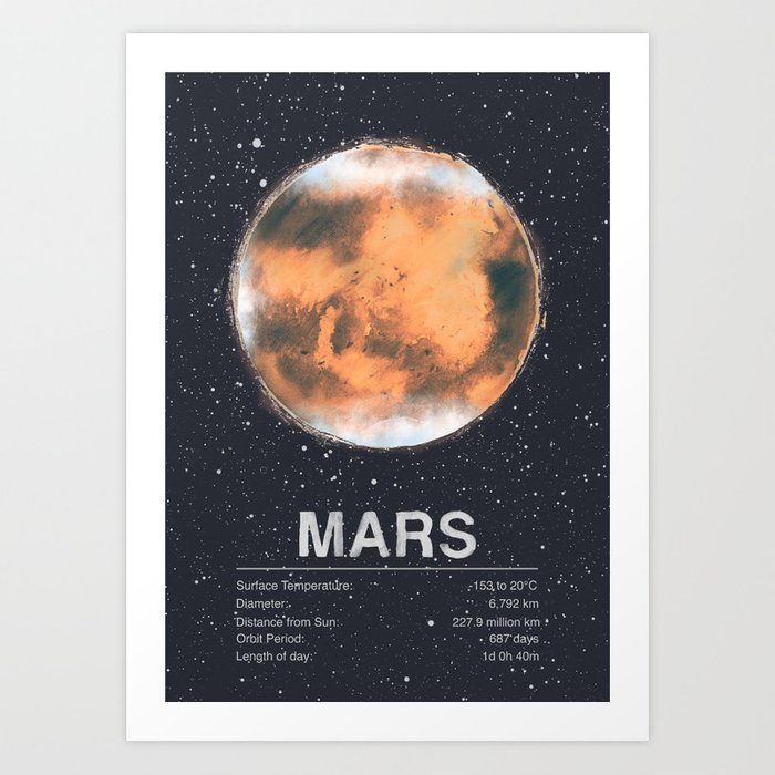 Sunday's Society6 | Planet Mars art print