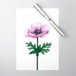 Pink Anemone Flower Painting Wrapping Paper