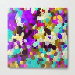psychedelic geometric circle pattern and square pattern abstract in pink purple yellow blue Metal Print