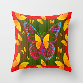 YELLOW BUTTERFLIES RED MODERN ART Throw Pillow