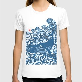 Japan Sea Whale Art Lino T-shirt