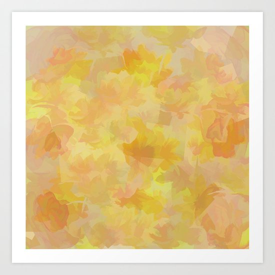 Floating Flowers Painterly Abstract Art Print