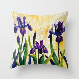 Watercolor Wild Iris on Wrinkled Paper Throw Pillow
