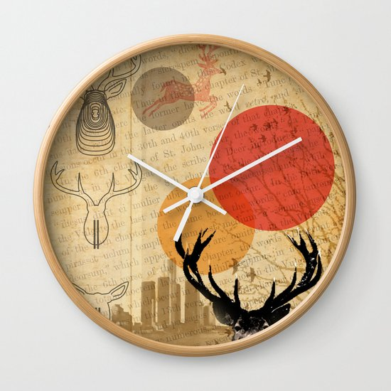 deer in the city Wall Clock