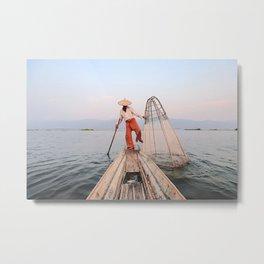 The Leg Rowing Fisherman   Inle Lake - Myanmar  Metal Print