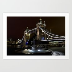 Girl and dolphin and Tower Bridge Art Print