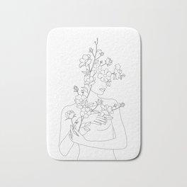 Minimal Line Art Woman with Wild Roses Bath Mat