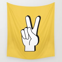 Peace Sign yellow Wall Tapestry