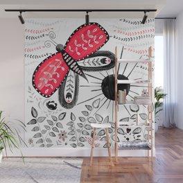 Folk Art Butterfly Woodland Scene Wall Mural