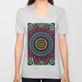 Mandala Technicolor Unisex V-Neck
