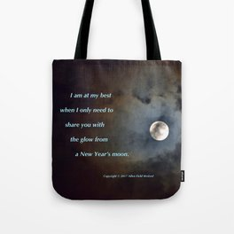 """""""Shadowy Moon #44"""" with poem: New Year's Moon Tote Bag"""