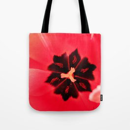 Pink Tulip Inside Photography Print Tote Bag